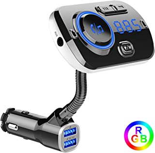 Bluetooth FM Transmitter for Car, Support Aux/TF Card/USB Disk, ECRAB Wireless Radio Transmitter Adapter Car Kit with Dual Charging Port, Hands-Free, Colorful Light