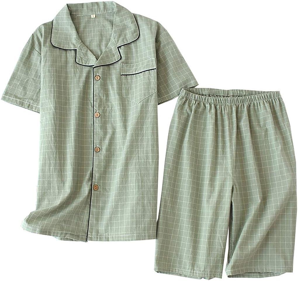 Shanghai Story Couple's Pajama Sets Two Pieces Plaid Cotton Woven Short Sleeve Sleepwear Loungewear Short Sets