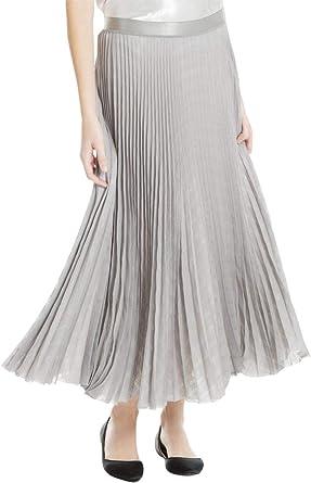 Max Studio Womens Metallic Pleated Maxi Skirt