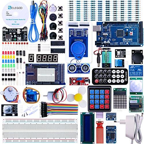 ELEGOO Mega 2560 Project The Most Complete Ultimate Starter Kit te gebruiken met Arduino IDE met TUTORIAL, MEGA 2560 R3 Controller Board, LCD 1602, Servo, Stappen motor