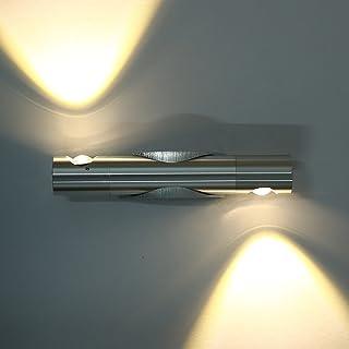 mini lámpara de pared led moderna, para baño/bar/dormitorio, 6 vatios (2 x 3 vatios) moderna base plateada brillante [clase de eficiencia energética a]
