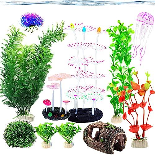 Lxiyu 11Pcs Aquarium Plastic Luminous Plant Fish Tank Decoration, Artificial Simulation Plant Suit, Non-Toxic and Soft, Suitable for All Fish, Otter Pets