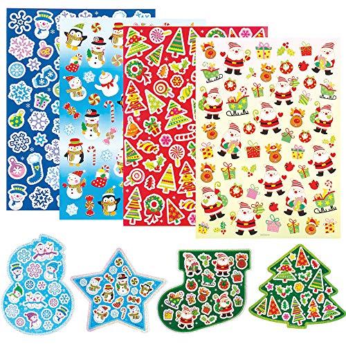 Baker Ross Pegatinas de navidad (paquete de 280) para manualidades y proyectos de arte para niños, tarjetas, bolsos de fiesta y decoraciones