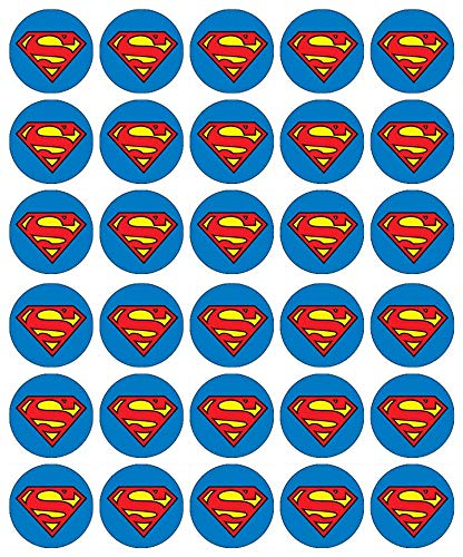 Cupcake-Topper mit Superman-Logo, essbares Oblatenpapier, Feenmotiv, 30 Stück