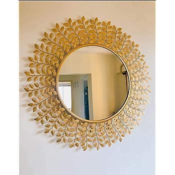 Furnish Craft Steel Glass Wall Mirror (24 inch, Gold)