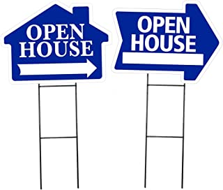 Open House Sign Combo Kit - Open House- House Shaped Sign & Open House Arrow Shaped Sign Kit - (Includes 1 of Each House and Arrow Shaped Sign and 2 Stakes) (Blue)