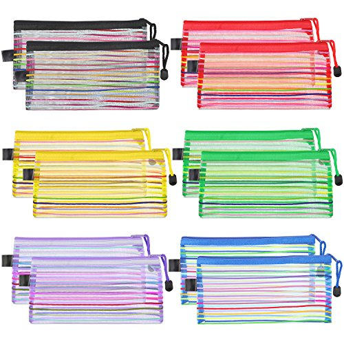 Bememo 12 Pieces 6 Colors Zipper Mesh Pouch Multipurpose Travel Bag for Cosmetics Offices Supplies Travel Accessories