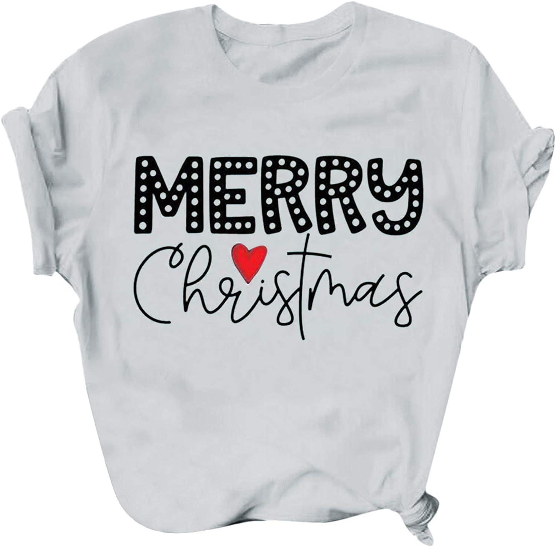 Christmas Shirts for Women, Tee Shirts for Women Santa Snowflake Funny Print Tops Casual Short Sleeve T-Shirt