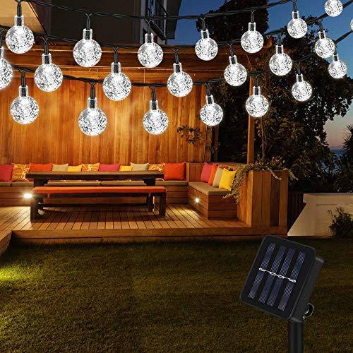 Lichterkette Solar Aussen, Vegena Weiß LED Lichterkette Solarlampen Außen Kristall Kugel 6.5M 30 LEDs IP65 Wasserdicht für Bäume Terrasse Hof Weihnachten Party Garten Deko Energieklasse A+++
