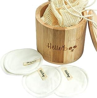 Coton démaquillant réutilisable | Paquet de 16 disques avec une boite en bambou et un..