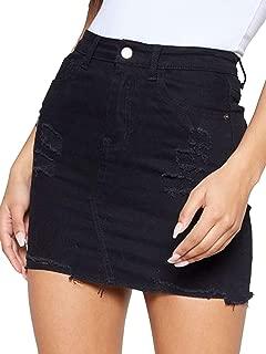 Women's High Waisted Jean Skirt Fringed Slim Fit Denim Mini Skirt