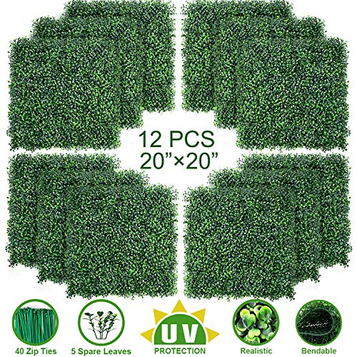 """TOPNEW 12PCS Artificial Boxwood Topiary Hedge Plant UV Protection Indoor Outdoor Privacy Fence Home Decor Backyard Garden Decoration Greenery Walls 20"""" X 20"""""""