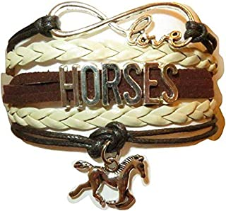 Electrobuyonline Horse Bracelet Gift for Girls, Horse Jewelry, Infinity Bracelet Horse Charm, Girls Gifts,Teen Gifts for Pony Loving Girls, Birthday Gifts for Girls, Horse Gifts