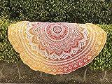 Tela redonda de mandala estilo hippie de Raajsee,diseño indio bohemio, como colcha, tapiz decorativo, mantel o toalla de playa, para meditación y yoga, 175 cm, algodón, Naranja, 70 inch