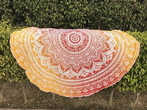 raajsee Tela Redonda de Mandala Estilo Hippie, diseño Indio Bohemio, como Colcha, Tapiz Decorativo, Mantel o Toalla de Playa, para meditación y Yoga, 175 cm, algodón, Naranja, 70 Inch