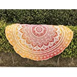 raajsee Round Beach Towel Boho Throw Hippie Tapestry Cotton Table Cloth Meditation Yoga Mat Rugs