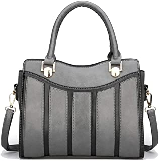 Trendy Lady Stitching Fashion Tote Contrast Shoulder Bag Joker Crossbody Bag Zgywmz (Color : Gray, Size : 28 * 11 * 22cm)