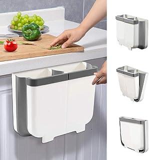 Aoweika Cubos de Basura Colgante 13 L para Cocina Cubo de Basura Plegable con Divisor Extraíble y Guía de Fijación Facil...