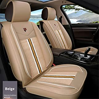 SureMart Car Seat Covers for Mazda 3 6 CX-3 CX-4 CX-5 CX-7 Axela Atenza Leatherette Car Front and Rear Seat Protector Airbag Compatible Wear-Resistant Waterproof Beige