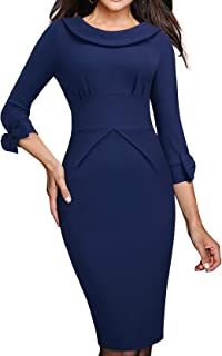HOMEYEE Women's Crew Neck Backless 3/4 Sleeve Bowknot Work Church Dress B466