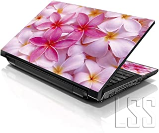"LSS 15 15.6 inch Laptop Notebook Skin Sticker Cover Art Decal Fits 13.3"" 14"" 15.6"" 16"" HP Dell Lenovo Apple Asus Acer Compaq (Free 2 Wrist Pad Included) Pink Plumeria Flower"
