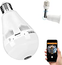 Bulb Camera 360 Degree WiFi 1080P HD Cameras Bulb Smart Security Surveillance Small Camera with IR Motion Detection Night Vision Communication 2.4GHz IP 1080P Nanny Cameras