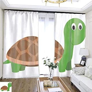 Air Port Screen Cute Cartoon Turtle Vector Illustration W96 x L264 Insulated Room Shades Highprecision Curtains for bedrooms Living Rooms Kitchens etc.