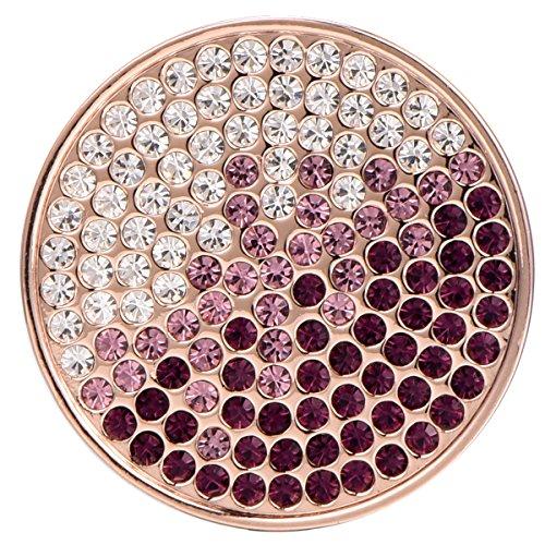 Morella Damen Schmuckmünze Coin 33 mm Zirkoniasteine violett-rosa-Silber
