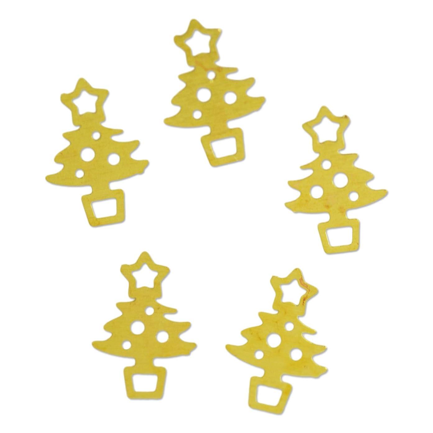 エゴマニアただやる絶望薄型メタルパーツ10041 クリスマスツリー christmas treeS 4×6mm ゴールド 20p入り