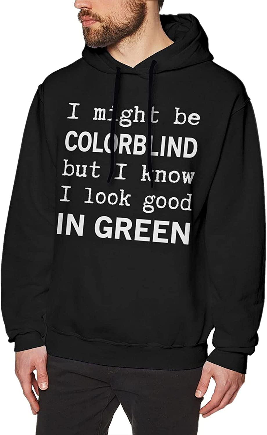 Red - Green Color Blindness Hoodies For Men Fashion Soft Cotton Sweatshirts Black