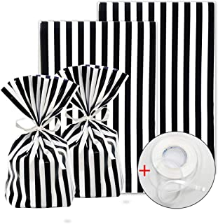 ADIDO EVA 100 Pack Cellophane Treat Bags Black and White Stripes Cookie Bags with Ties 8 x 5.5 x 2 inch Clear Plastic Goodie Bags for Dessert Cookie Candy Snack Wrapping Party Favor Bags