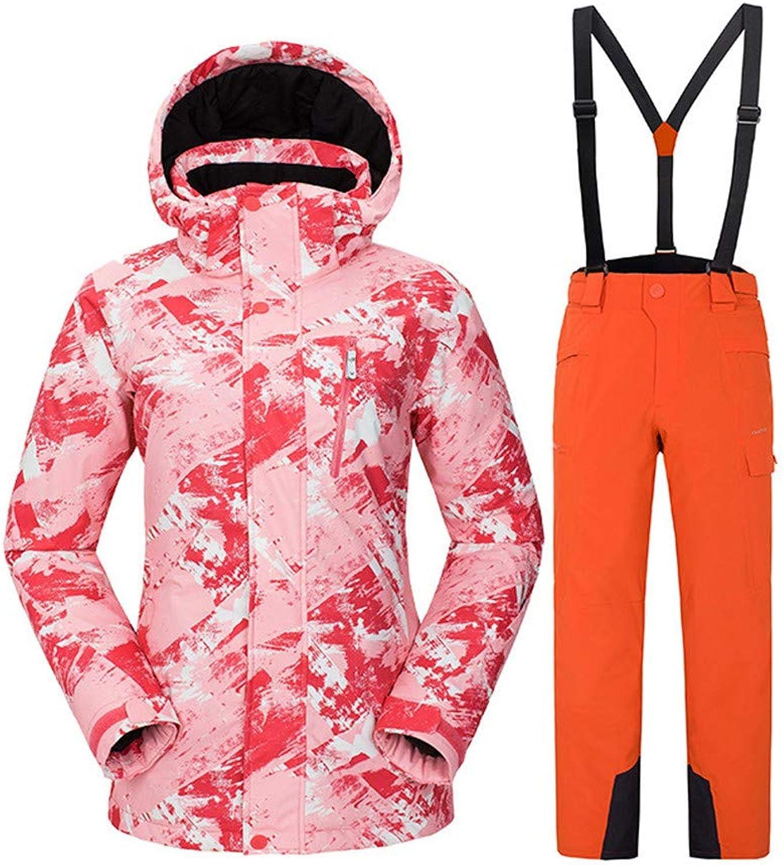 Women's Ski Jacket with Pants Warm, OverCharge Predection, Detachable Cap Snowboarding Winter Sports EcoFriendly Polyester Softshell Jacket Snow Bib Pants Ski Wear