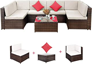 Romatlink, 7 Pieces Outdoor Rattan Patio Furniture Set, Modern Wicker Conversation Sectional Sofa Chairs with Cushioned Couch   Pillows & Glass Top Coffee Table, Perfect for Garden Lawn Pool Backyard