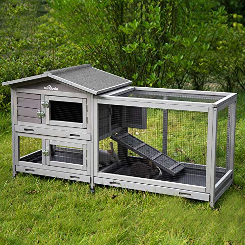 "Aivituvin 62"" Rabbit Hutch Indoor and Outdoor Bunny Cage on Wheels with 3 Deep No Leakage Pull Out Tray,Waterproof Roof (Grey)"