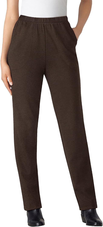Woman Within Women's Plus Size Petite Straight Leg Ponte Knit Pant
