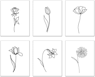 Minimalist Flowers Prints – Set of 6 (8×10 Inches) Glossy Floral Botanical..