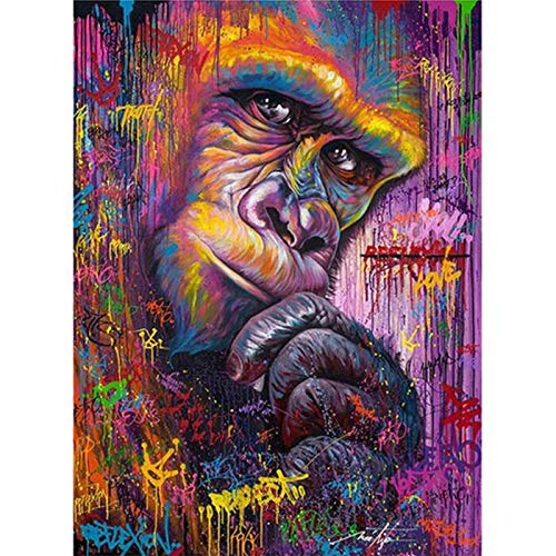 5D DIY Diamond Painting Full Square/Round Drill'Color Monkey' Animal 3D Rhinestone Embroidery Cross Stitch Gift Home Decor - 30x35cm