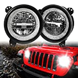 JL 9 Inch Led Headlights DOT Approved with Halo DRL Directly Fit for 2018 2019 2020+ Jeep Wrangler JL Sport