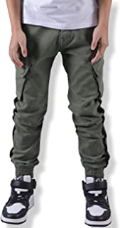 WIYOSHY Boys' Adjustable Waist Cargo Pants Multi Pocket Outdoor Denim Joggers