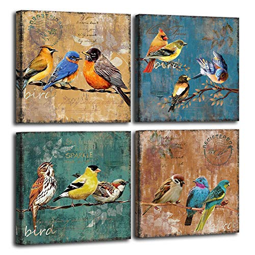 (70% OFF Deal) Bird Canvas Wall Art 4 Piece Set $9.00
