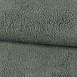 Stoffe Werning Baumwoll-Teddystoff Uni grau Plüschstoff