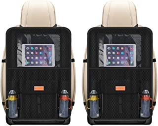 Smart elf Backseat Car Organizer, 2 Pack Waterproof Kick Mats Car Back Seat Protector Back Seat Organizer with Clear Touch Screen 12.9