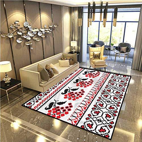 Ukrainian Non Slip Rug pad Farmhouse Kitchen Rugs Pixel-Like Berries Stripe Desk Chair mat for Carpet 6 x 8.8 Ft
