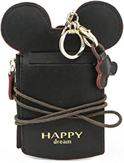 COCO LEE Chic Black Cute Travel PU Leather Student ID Card Holder Lanyard Neck Pouch Bag With Coin Wallet Purse for School Students Women Kids Teens Girls