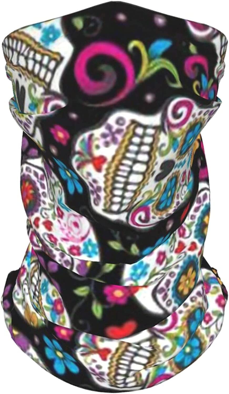Sugar Skulls Neck Gaiter Multipurpose Headwear Ice Silk Mask Scarf Summer Cool Breathable Outdoor Sport 2 Pcs