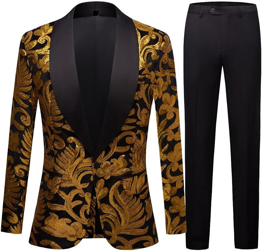 NJBYX Men's Shiny Gold Sequin Blazer Embellished Coat Ranking TOP20 Sacramento Mall Ma Glitter