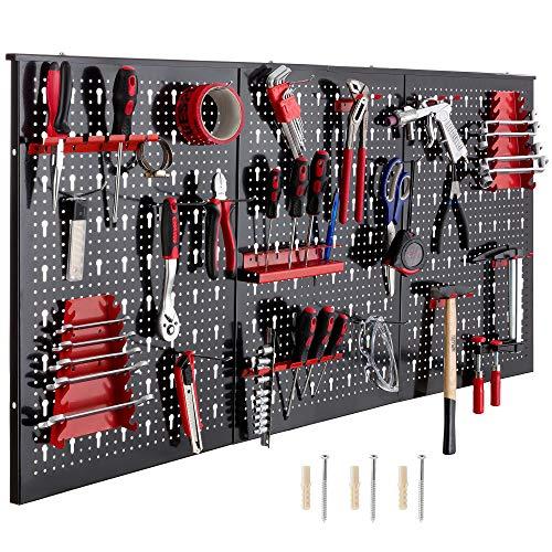 Arebos Werkzeugwand dreiteilig | 17 teiliges Hakenset | 120 x 60 x 2 cm