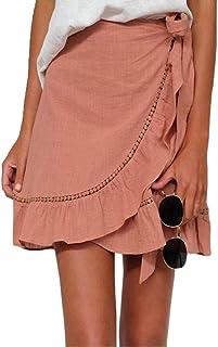chenshiba-JP 女性カジュアルセクシー立体不規則ハイウエストラップショートスカート