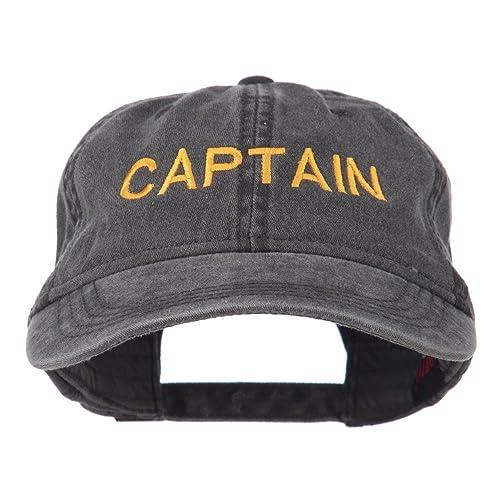 5d3a7092296 e4Hats.com Captain Embroidered Low Profile Washed Cap - Black