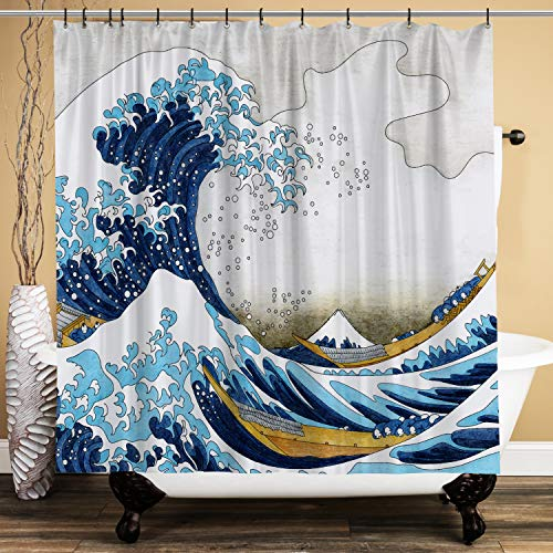 Spanker Space Japanese Hokusai Modern Blue The Great Waves of Hokusai Aesthetic Waterproof Fabric Bath Shower Curtain 71x71 Inches with Hooks for Bathroom Accessories No Liner Needed